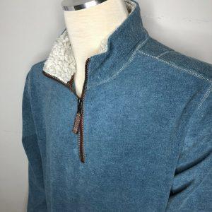 TRUE GRIT Outdoor Wear 1/4 Zip Soft Fleece Pullover Sweater Size Large Aqua Blue
