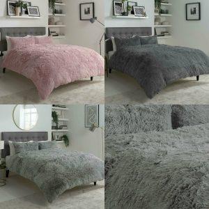 Teddy Duvet Cover Set Hug and Snug Fluffy Soft Warm Cozy Fleece Pile Bedding Set