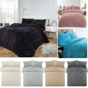 Teddy Fleece Bear Fur Duvet Cover Quilt Pillow Set Fluffy Warm Cosy Bedding Sets