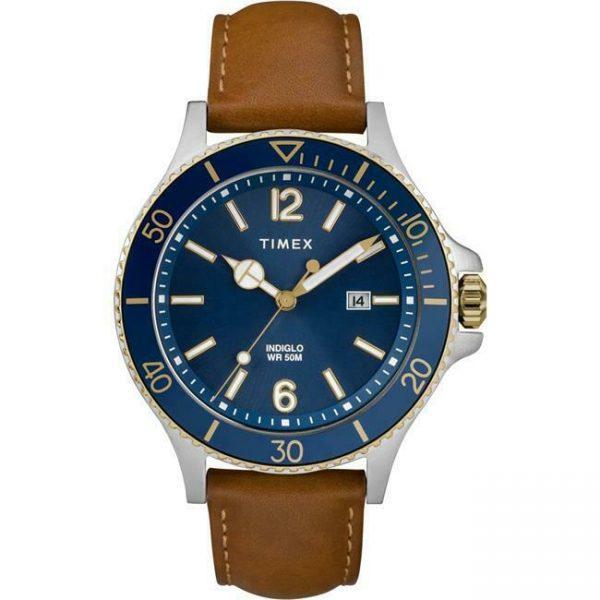 Timex TW2R64500JT Mens Harborside Leather Strap Watch Tan & Blue