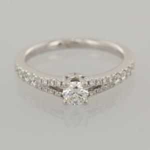 Tolkowsky Diamond Engagement Ring 18ct White Gold