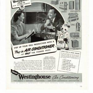 VINTAGE 1941 WESTINGHOUSE PLUG-IN AIR CONDITIONERS PANDA BEAR AD PRINT B436