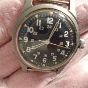 VINTAGE BENRUS US MILITARY WRIST WATCH GG-W-113 w/ HACK 1974 VIETNAM WAR- WORKS