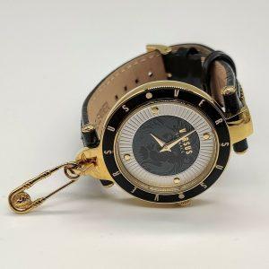 Versus by Versace Women's SCK080016 'KEY BISCAYNE II' Quartz Leather Black Watch