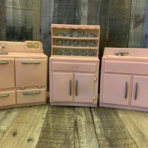 Vintage 1950s TICO Kitchen Appliances Plastic Pink Sink Stove Storage - Lot Of 3