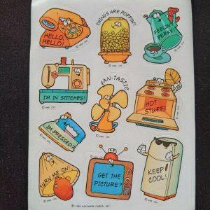 Vintage 1983 Hallmark Cartoon Home Appliances Stickers - 1 Sheet