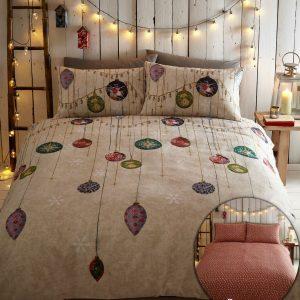 Vintage Christmas Duvet Cover Sets Reversible Festive Bedding Bed Sets New