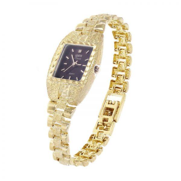 "Women's 10k Yellow Gold Watch Link Wrist Watch Geneve with Diamond 7.5""-8"" 27g"