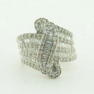 Women's 14k White Gold Diamond Cluster Cocktail Ring #22402B