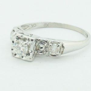 Women's 14k White Gold Diamond Deco Style Engagement ring #21425