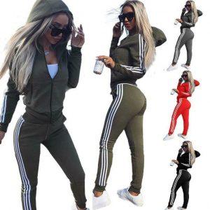 Womens 2 Pcs Athleisure Sports Wear Tracksuit Hoodie & Pants Set