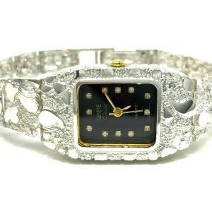 """Women's 925 Sterling Silver Nugget Geneve Diamonds Watch 6.5"""" 24 grams"""