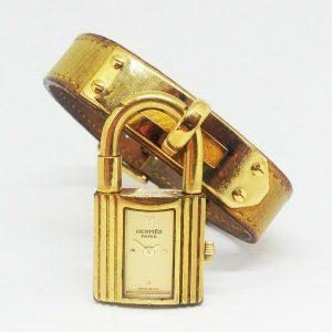 Women's HERMES Kelly Quartz Watch. 20mm Gold Dial.