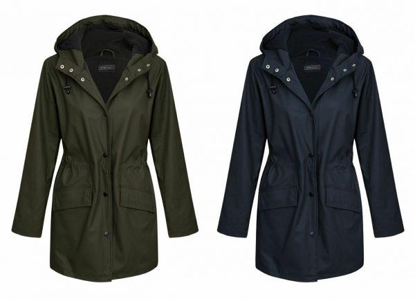 Womens Ladies Shower Outdoor Wear Fleece Lining Rain Mac Jacket Coat