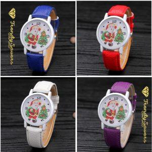 Women's Men's Christmas Xmas Santa Claus Snow Leather Man Wrist Watches