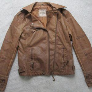 Women's Small Brown Defacto Mediterranean Fashion Leather Jacket w/ Silk Lining