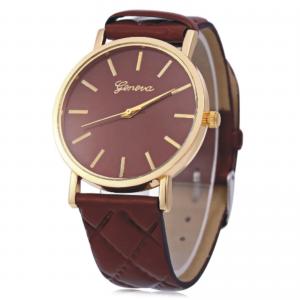Women's Stainless Steel Geneva Brown Coffee Quartz Leather Band Dial Wrist Watch