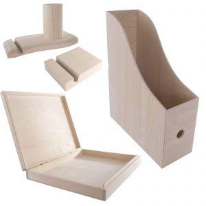 Wooden Office Accessories /4 pcs. SET/ A4 Arch & Document Box / Pen Card Mobile