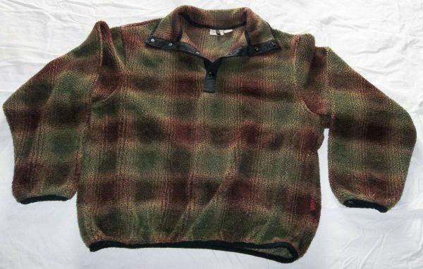 Woolrich Outdoor Wear Brown Green Pullover Snap Collar Sweater Shirt Size L