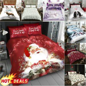 XMAS DUVET COVERS Pillow Case Christmas Bedding Set Winter Soft Warm Quilt Cover