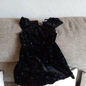 babies black velvet sparkle star halloween dress 12 to 18months