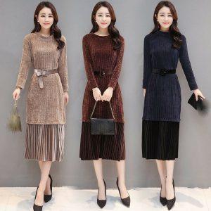 latest Autumn winter Korean fashion elegant temperament knitting pleuche dress