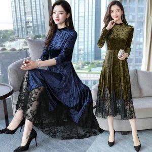 latest Autumn winter Korean fashion elegant temperament pleuche Bud silk dress