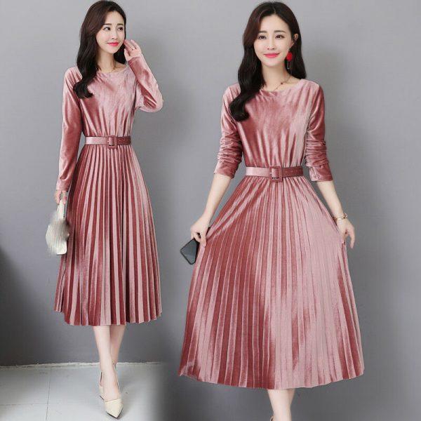 latest Autumn winter Korean fashion elegant temperament pleuche dress