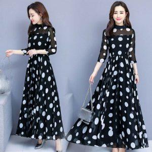 latest summer Korean fashion beautiful temperament chiffon printing dress