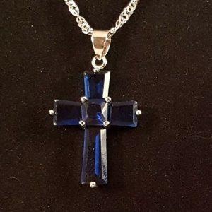 navy blue zircon cross silver  necklace