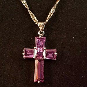 purple zircon cross silver necklace