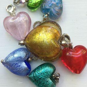 various multi color heart pendant charm trinket
