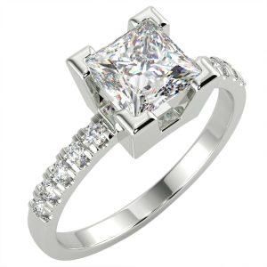 1.25 Ct Princess Cut VS2/E Solitaire Pave Diamond Engagement Ring 14K White Gold