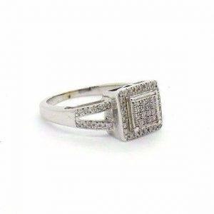 14K White Gold 18ct Pave Halo Split Shank Diamond Engagement Promise Ring #32382