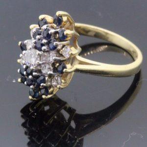 14k Yellow Gold Diamond & Sapphire Unique Ring 0.67 TCW G-H SI2 4.9g. #30082