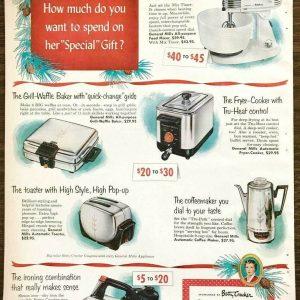 1953 General Mills Home Appliances Sponsored by Betty Crocker Christmas PRINT AD
