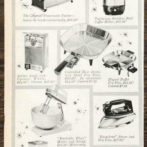 1961 Toastmaster Small Home Appliances Christmas Print Ad Gift Mom Sis Daughter