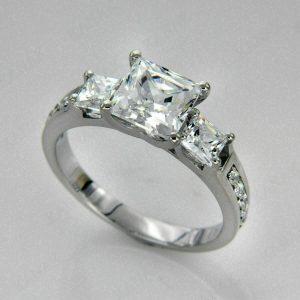 3Ct Princes-Cut VVS1 Diamond Three-Stone Engagement Ring 14k White Gold Finish