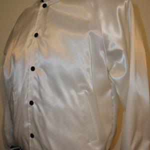 Auburn Sports Wear White Shiny Satin Blank Snap Varsity L Jacket USA VTG 80s 90s