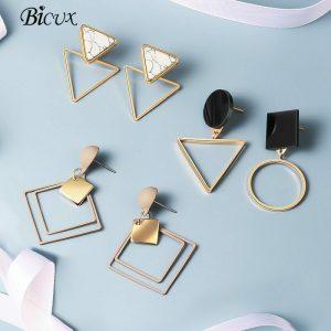 BICUX New Fashion Round Dangle Drop Korean Earrings For Women Geometric Round