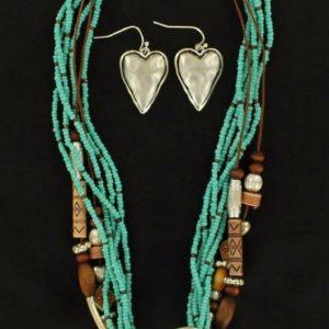 Blazin Roxx Western Womens Jewelry Necklace Earrings Heart Turq Brown 3052433