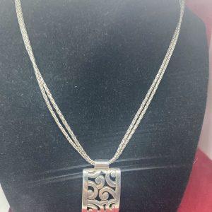 """Brighton Double Strand Chain Contempo Swirl Pendant Silver Necklace 16-18"""""""