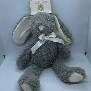 """Bunny Rabbit Plush Gray White Infant Toy 16"""" Kelly Baby Kellybaby"""
