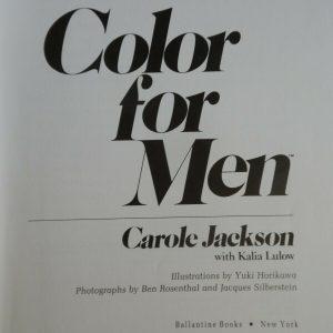 COLOR FOR MEN - Carol Jackson Hardcover Book-First Edition 1984 w/Kalia Lulow