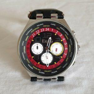 D&G Men's Unique 46mm Chronograph Red Black Leather Dolce Gabbana Watch
