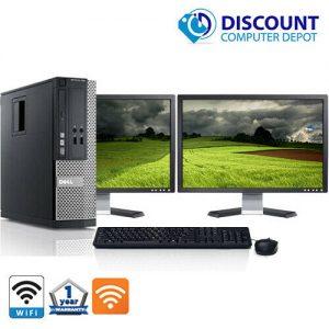 """Dell Optiplex 390 Win10 Pro Desktop PC i3 3.3GHz w/ Dual 2x19"""" Dell Monitors"""