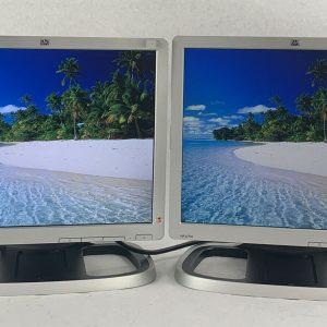 "Dual HP L1710 17"" LCD Monitors 1280x1024 VGA and Power Cords Included - Grade B"