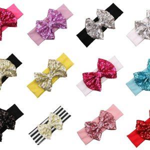 "Girls Baby Children Sparkle Shiny 4"" Bow Sequin Elastic Fashion Hair Headband UK"
