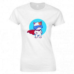 KID'S t shirts Cat Superhero Kitten  tee fashion printed Ladies t shirts  0276