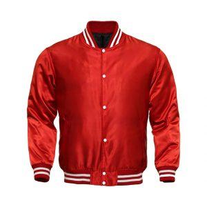 Letterman Baseball College Varsity Bomber Sports Wear Super Jacket Red Satin